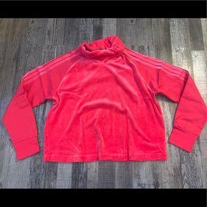 Adidas pink velour cowl neck sweatshirt